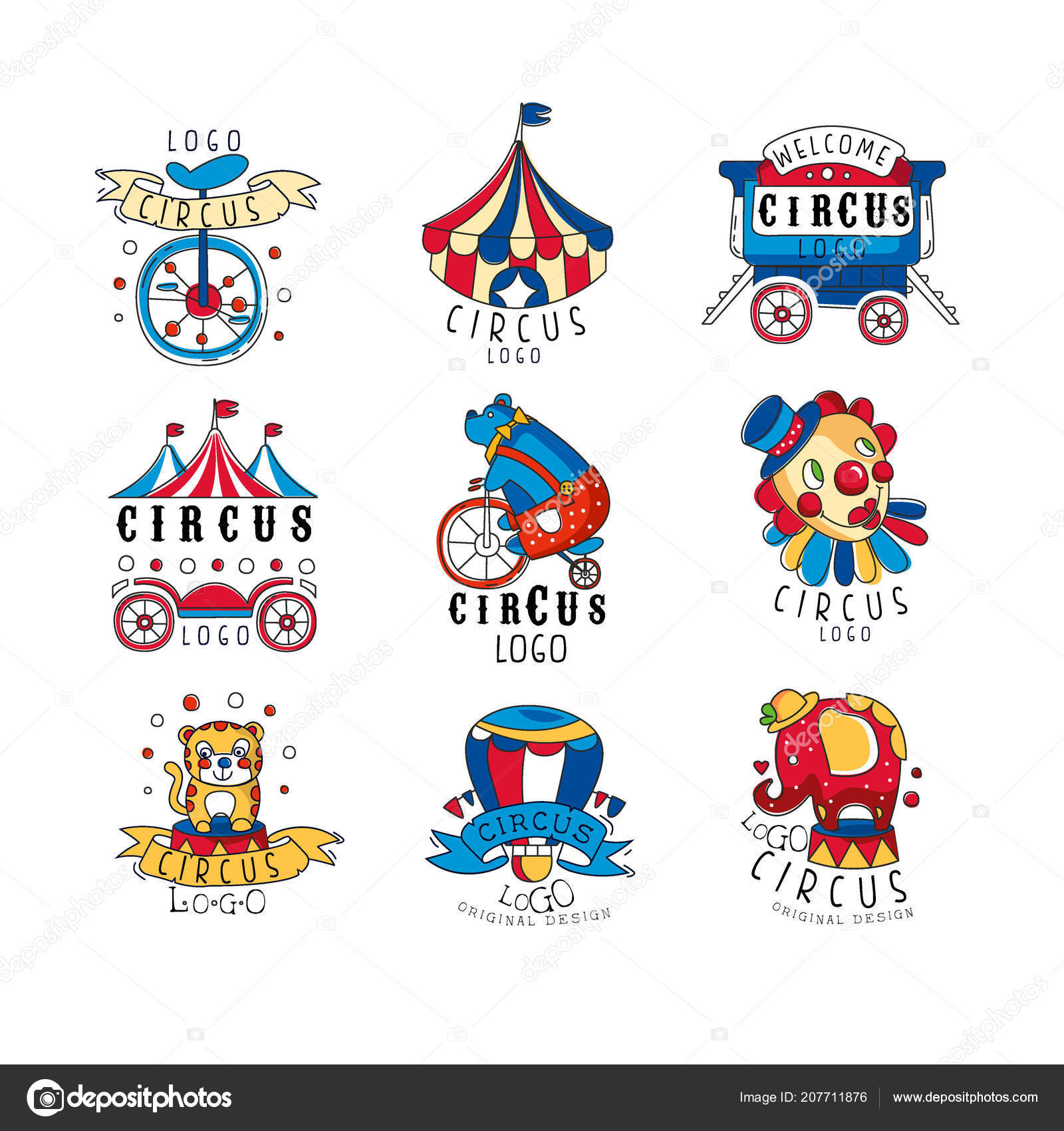 Circus Logo Design Set Colorful Emblems For Amusement Park Festival Party Creative Template Of Flyear Posters Cover Banner Invitation Hand Drawn Vector Illustrations On A White Background Stock Vector C Topvectors 207711876