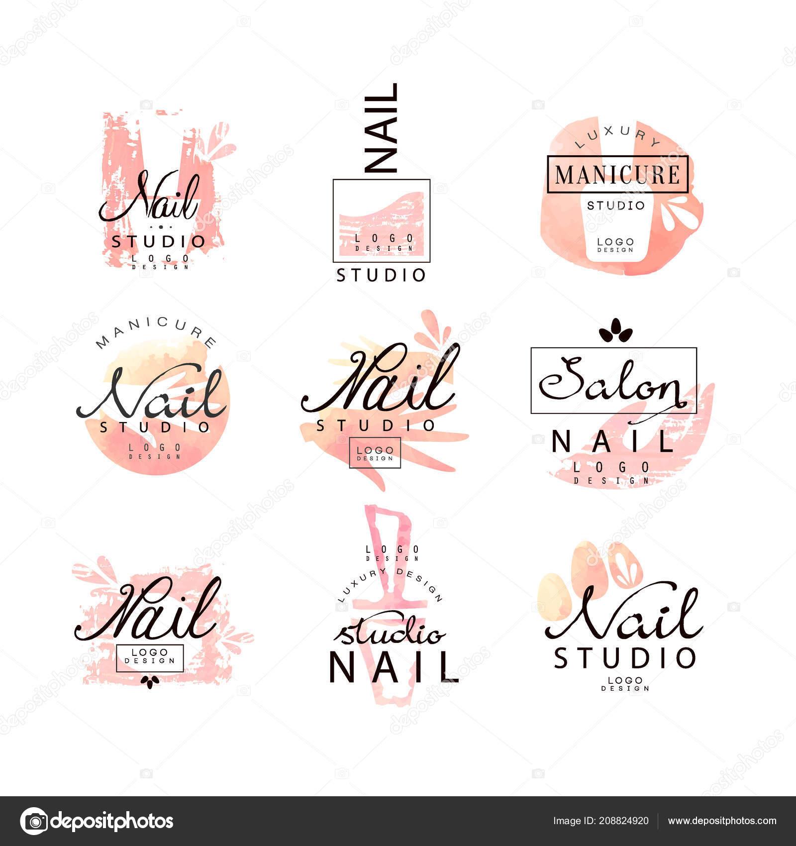 Nail Studio Dellinsieme Del Disegno Di Marchio Modelli Di