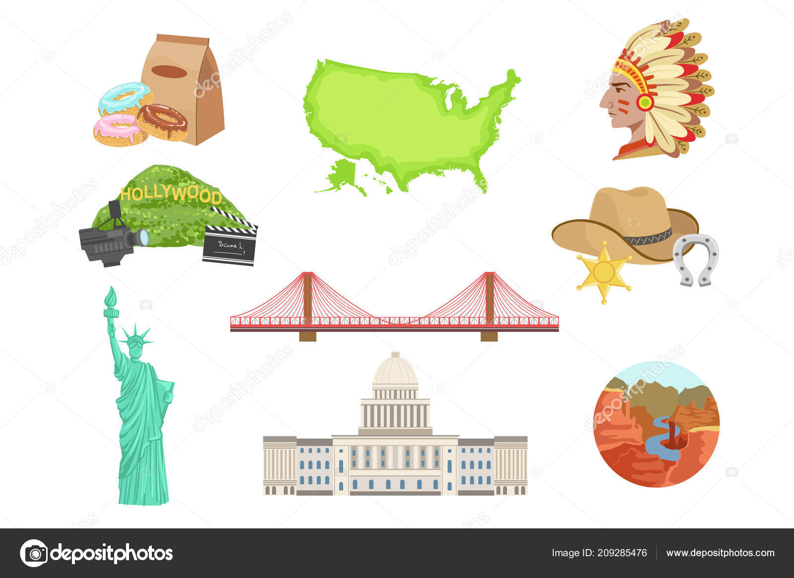Usa National Symbols Set Of Items Isolated Objects Representing