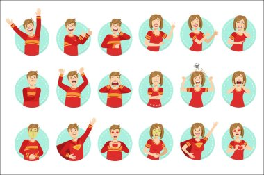 Emotion Body Language Illustration Set With Guy and Woman Demonstrating. Set Of Emotional Facial Expressions With Person In Red T-shirt In Blue Round Frame. stock vector