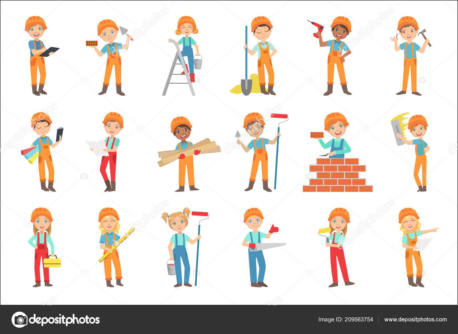Deti Delaji Stavebni Prace Sada Bright Barevne Izolovane Vektorove
