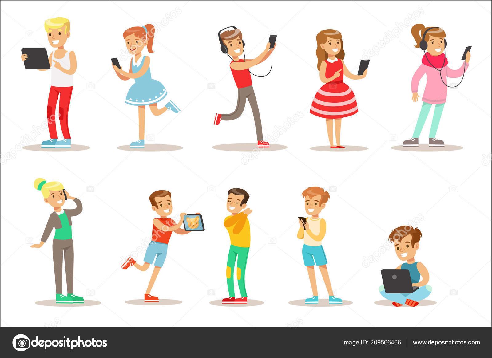49e1c431b9d391 Kinderen en Gadgets Set illustraties met kinderen kijken, luisteren en  spelen met behulp van elektronische apparaten. Tiener technologie  verslaafden ...