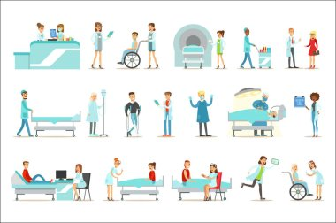 Injured And Sick Patients In The Hospital Receiving Medical Treatment From Professional Doctors And Nurses. People And Healthcare Set Of Illustrations With Men And Women Getting Medical Help In clip art vector