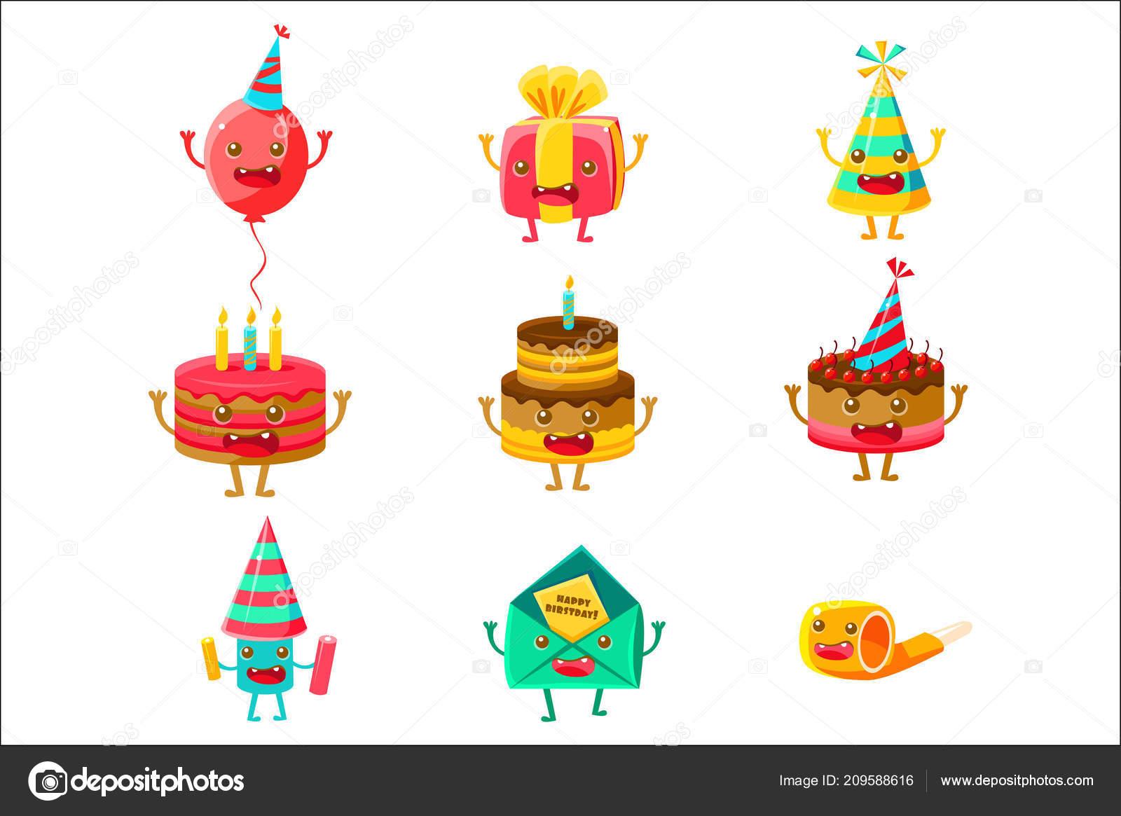 Alles Gute Zum Geburtstag Und Feier Party Symbole Comic Figuren