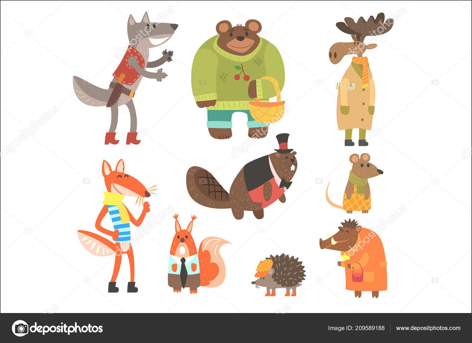 森の動物イラストの人間の服はセットに身を包んだ — ストックベクター