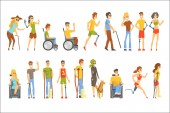 Photo Young People With Permanent And Temporary Disabilities Overcoming The Injury Living Full Live Collection Of Vector Illustrations.