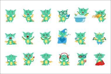Little Dragon Cute Emoji Set