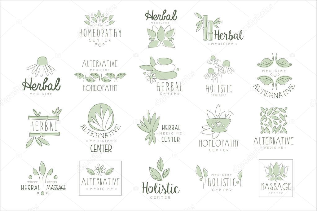 Alternative Medicine Center With Oriental Herbal Treatment And Holistic Massage Procedures Set OF Label Templates