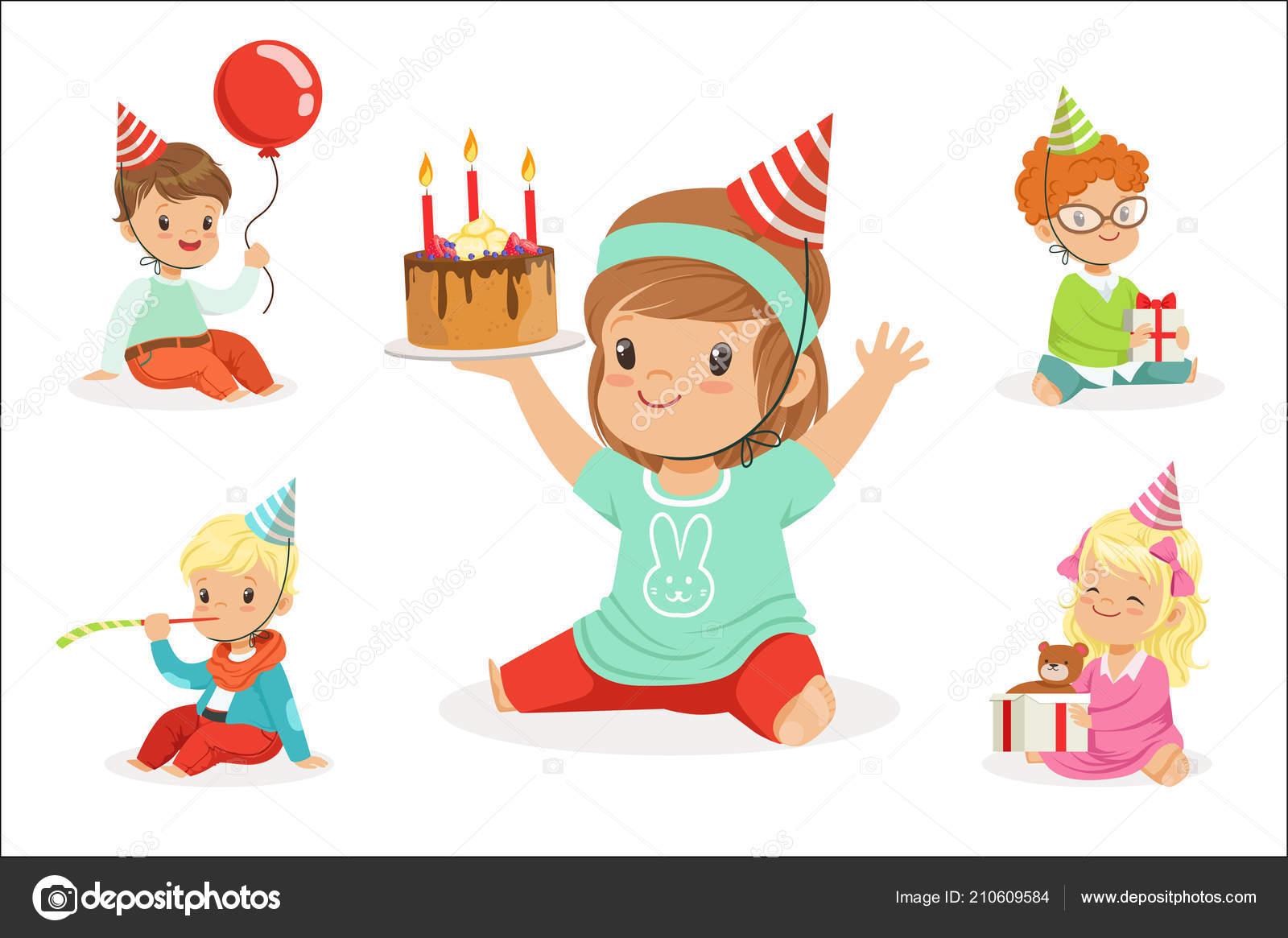 Kleine Kinder Geburtstag Feier Party Mit Festlichen Attribute Und