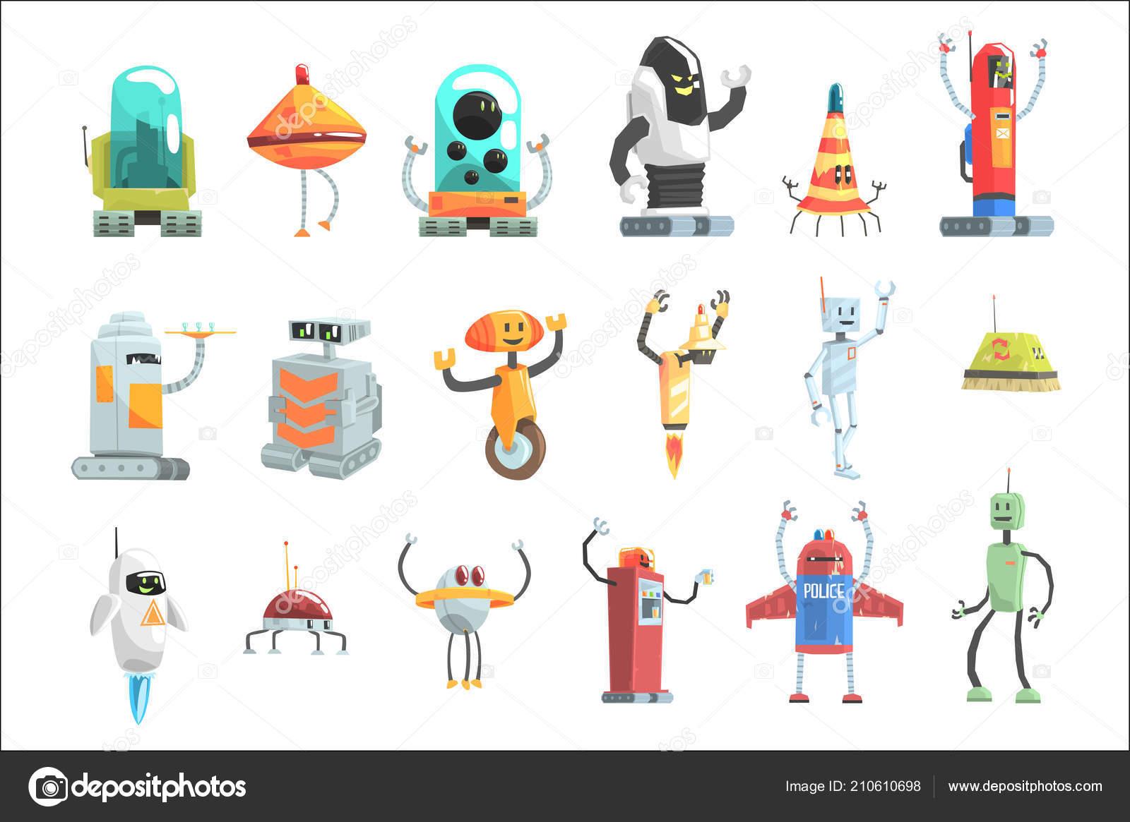 Ruzne Design Verejne Sluzby Roboty Sada Barevne Karikatura Androidi