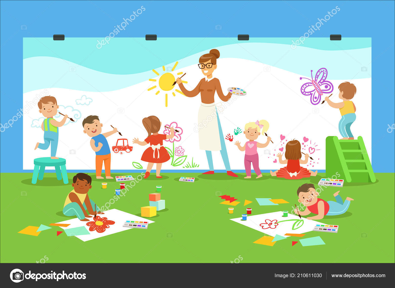 Male Deti V Umeni Tridy Kresleni A Malovani S Ucitelem V Materske