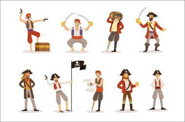 Pirate Sailors With Classic Filibusterer Attributes Set Of Smiling Male Characters With Guns And Sabers.