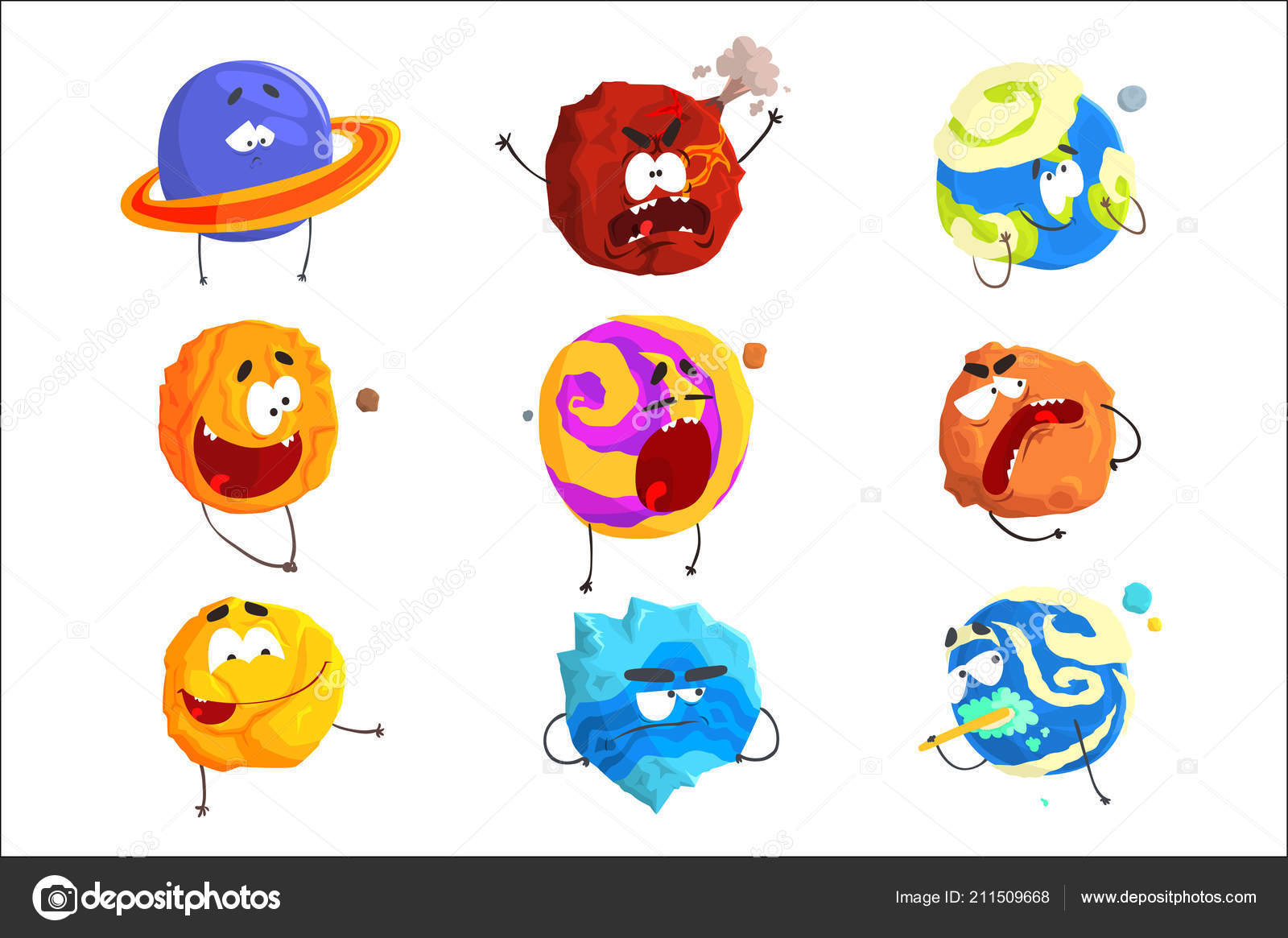 Para Niños De Dibujos Animados Caras Diferentes: Planetas De Colores Dibujos Animados Con Caras Divertidas