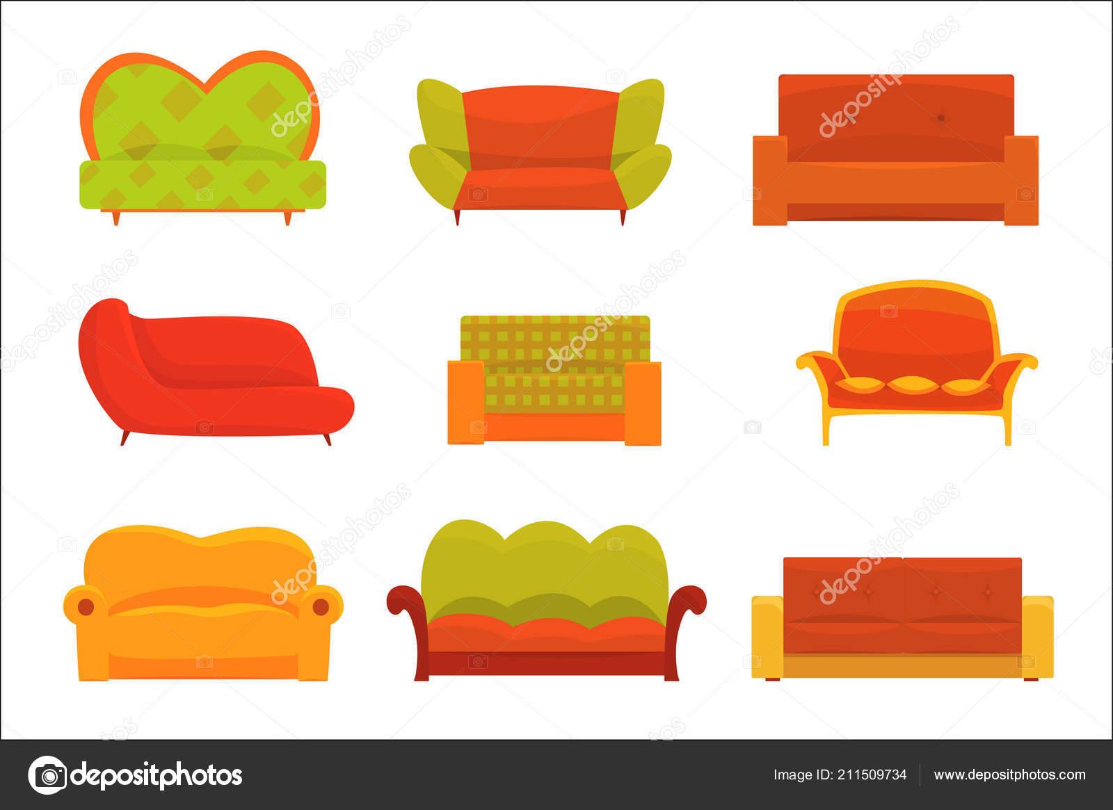 Sofas Und Sessel Interieur Elemente Gemutliche Couch Reihe Von