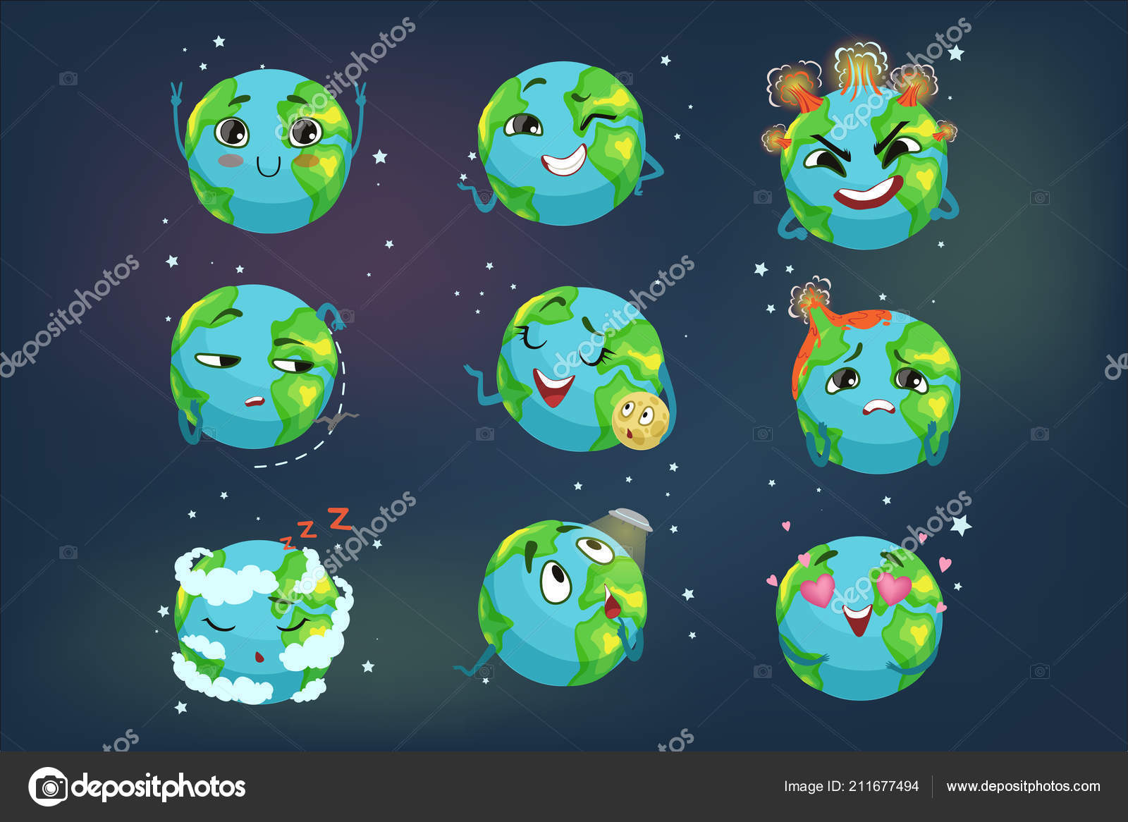 Cute Funny Planet Earth Emoji Showing Different Emotions Set
