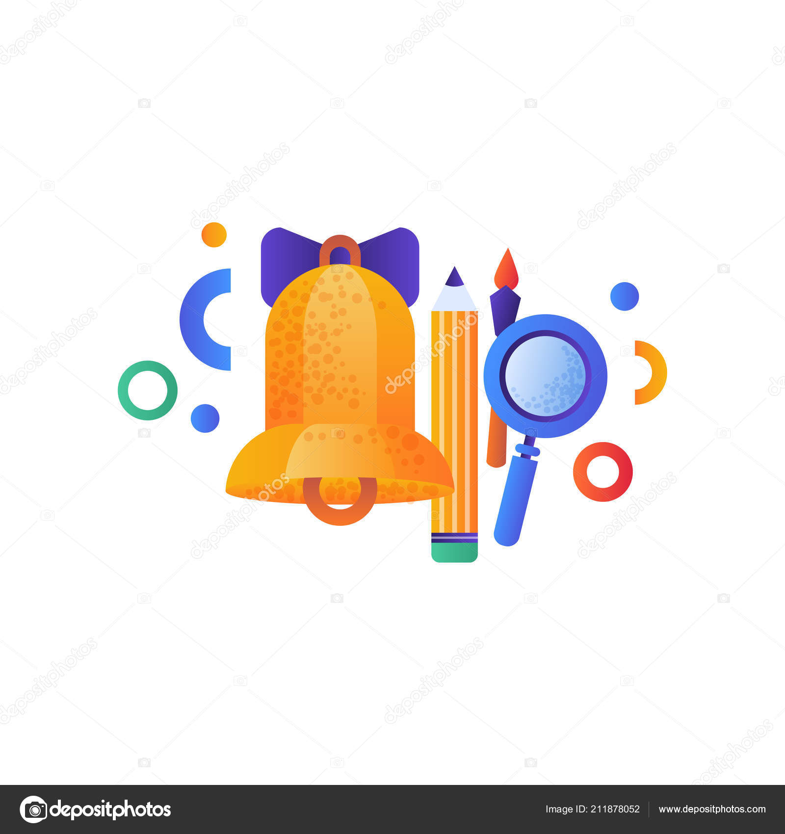 c5ceb8edc School golden bell. pencil, pen and magnifying glass, education concept,  school supplies vector Illustration isolated on a white background.