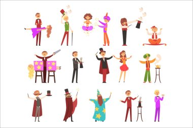 Magician in the circus show magic tricks magic tricks vector