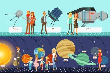 People in the planetarium set, innovation education museum horizontal vector Illustrations