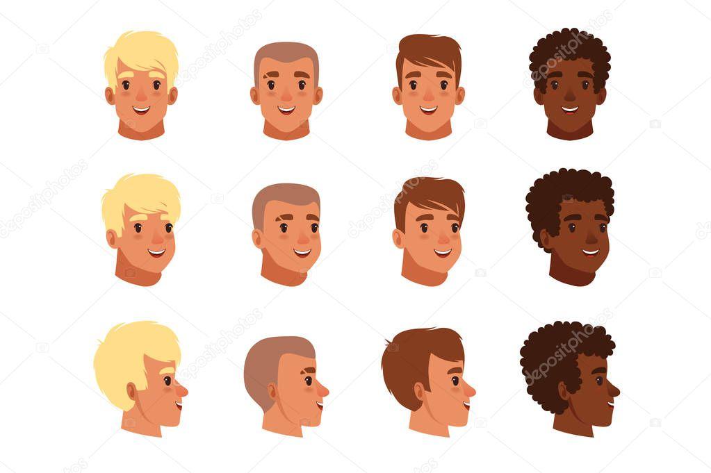 Ilustracja Awatarów Głowy Mężczyzn Zestaw Z Różnych Fryzur