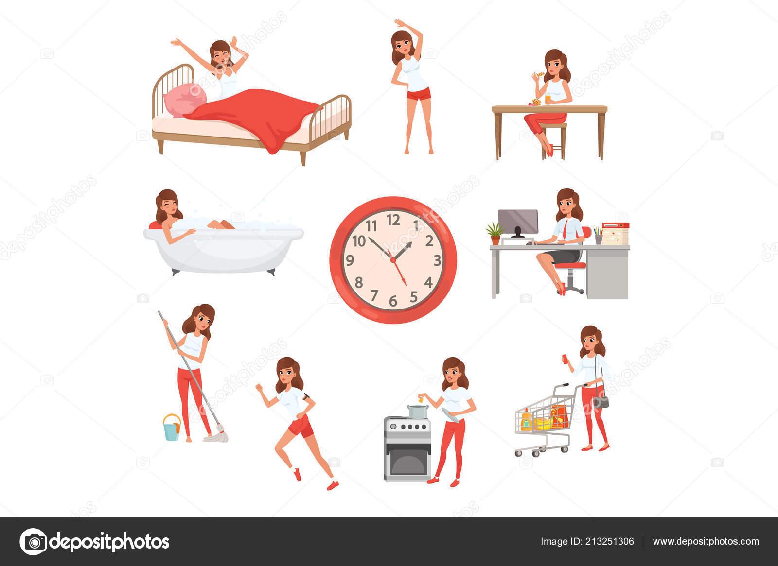 f2505f13495ca Hora do dia. Acordar, fazer exercícios físicos, tomando café da manhã,  tomar banho, trabalhar, limpeza de casa, a cozinhar e fazer compras.
