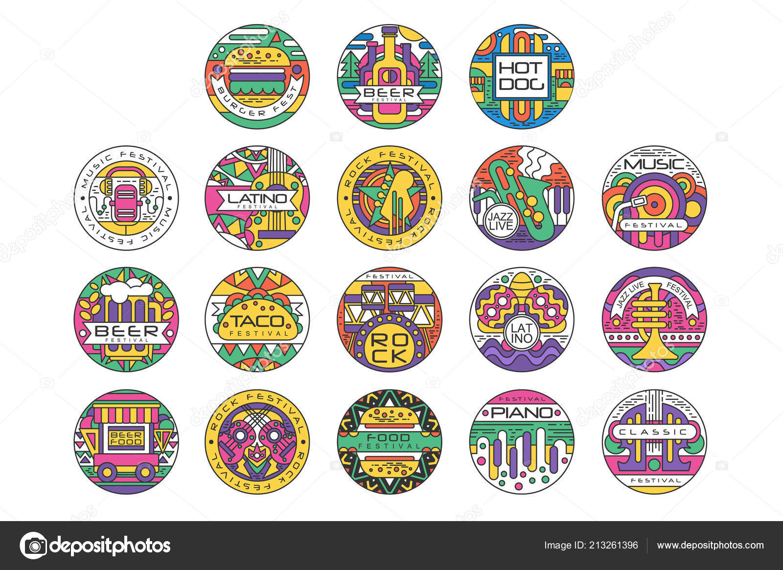 Food Festival Logo Set Burger Fest Beer Festival Hot Dog Tako Festival Rock Food And Music Round Labels Or Stickers Vector Illustrations Vector Image By C Topvectors Vector Stock 213261396