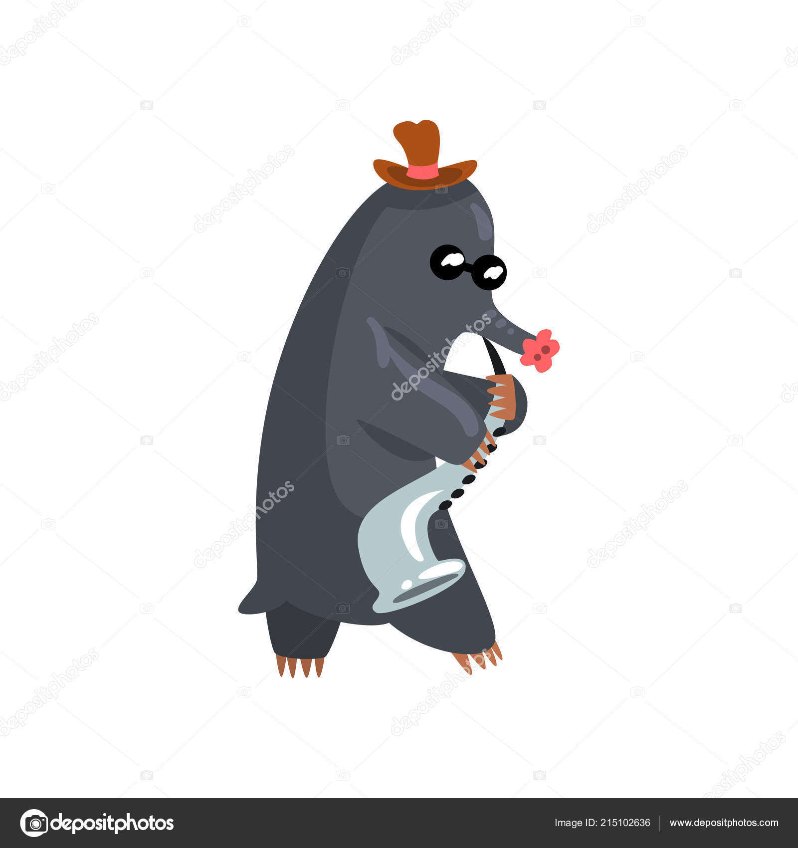 Talpa nera suonare il sassofono il musicista carino animale