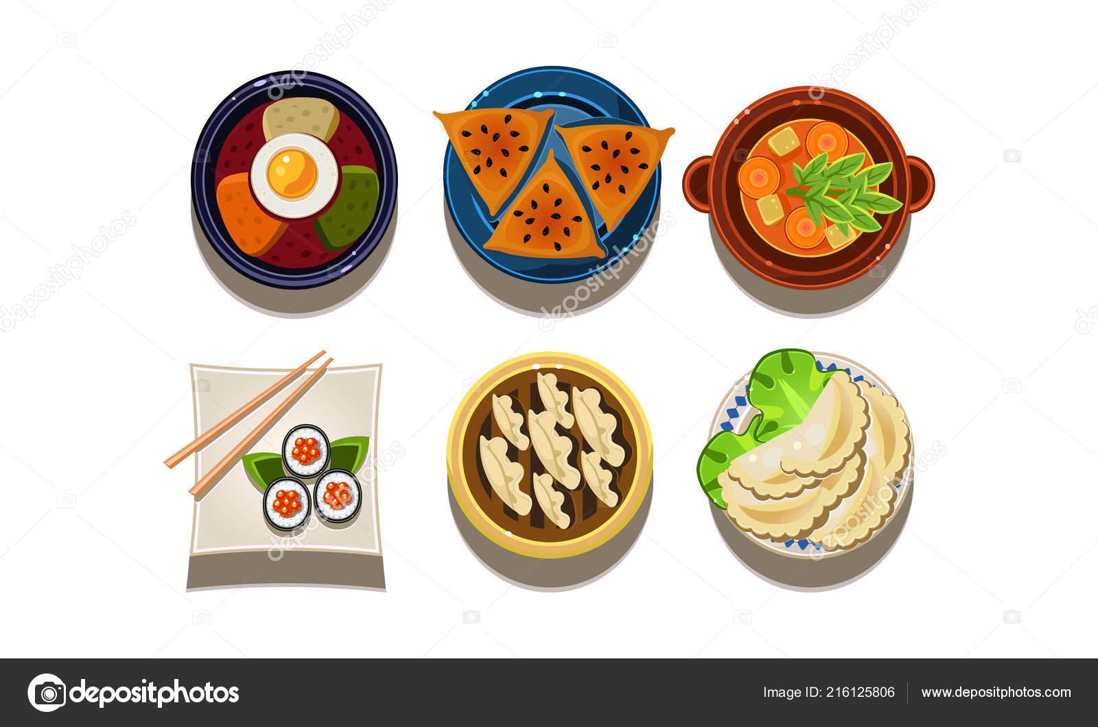Ensemble Du0027icônes De Nourriture De Dessin Animé, Vue De Dessus. Cuisine  Chinoise Et Coréenne. Cuisine Asiatique Traditionnelle. Repas Savoureux.