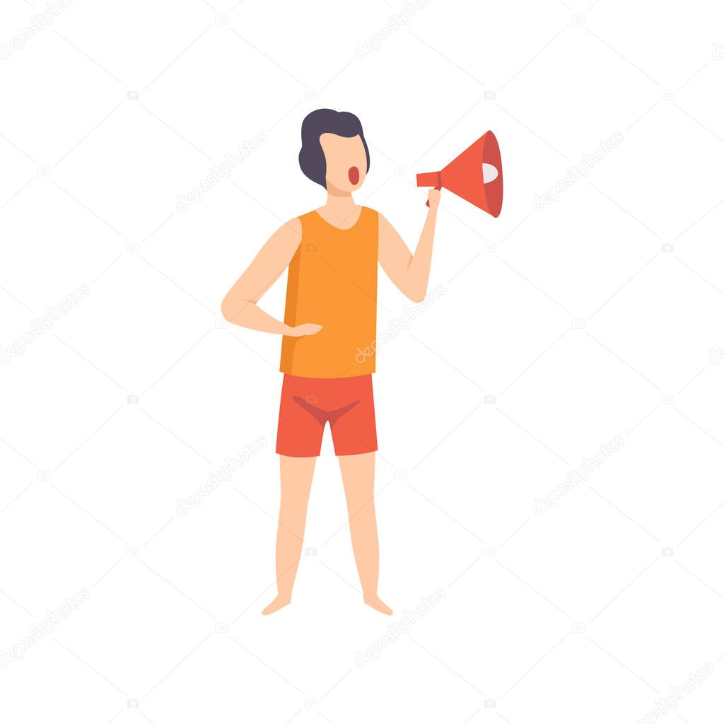 Male lifeguard shouting into a megaphone, professional rescuer character working on the beach vector Illustration on a white background
