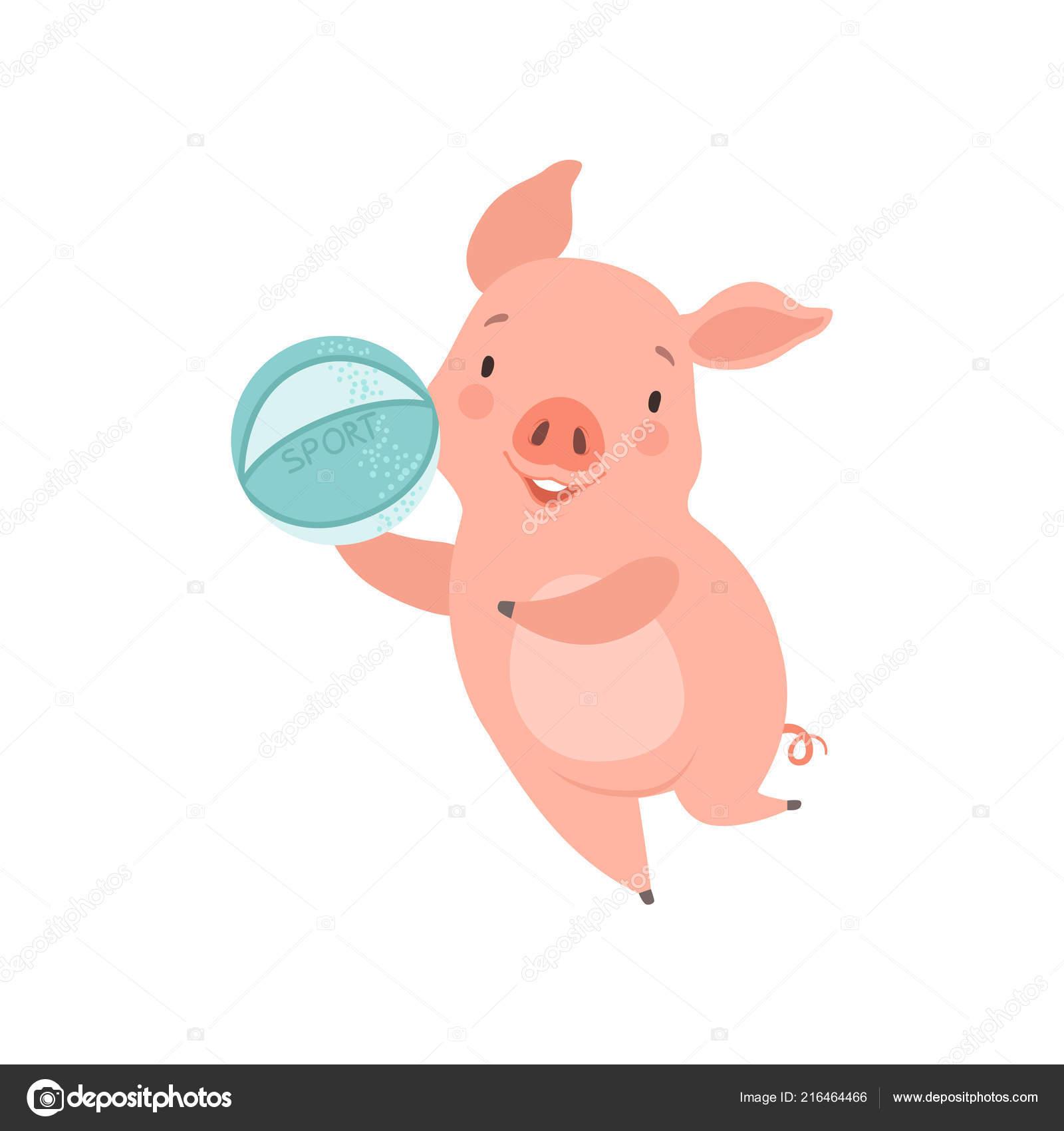 Piccolo maiale sveglio che gioca con la sfera personaggio dei