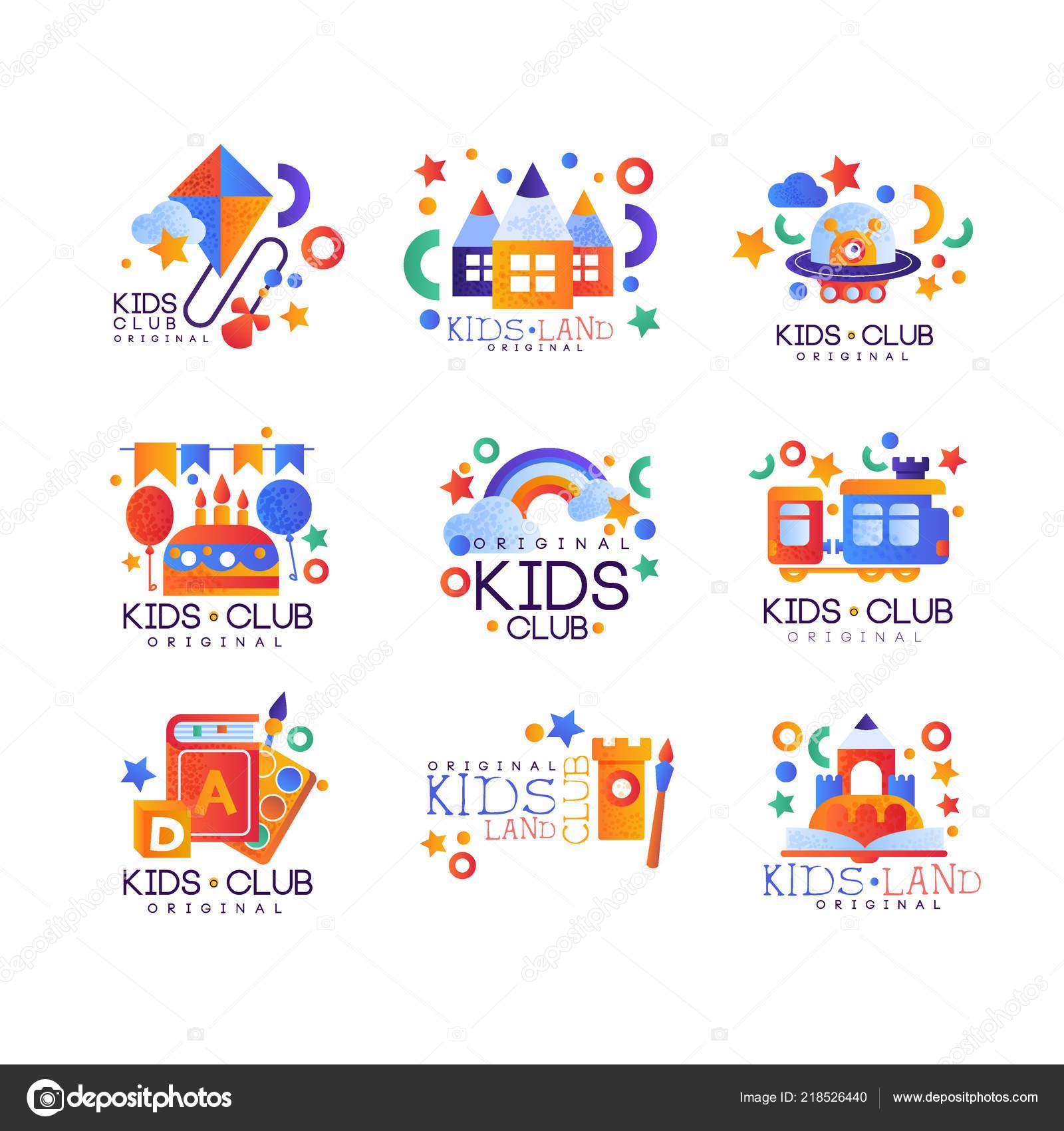 Kids Club Logo Original Set Colorful Creative Labels Templates