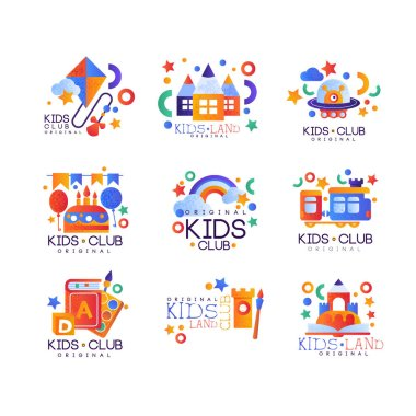 Kids club logo original set, colorful creative labels templates, playground or entertainment club badges vector Illustration on a white background