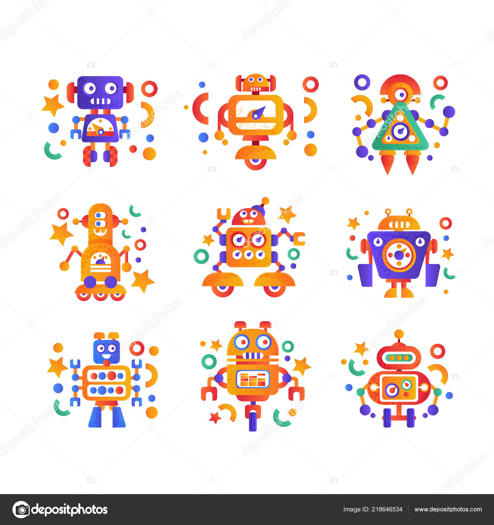 Cute Funny Robots Set Android Characters Artificial Robotics