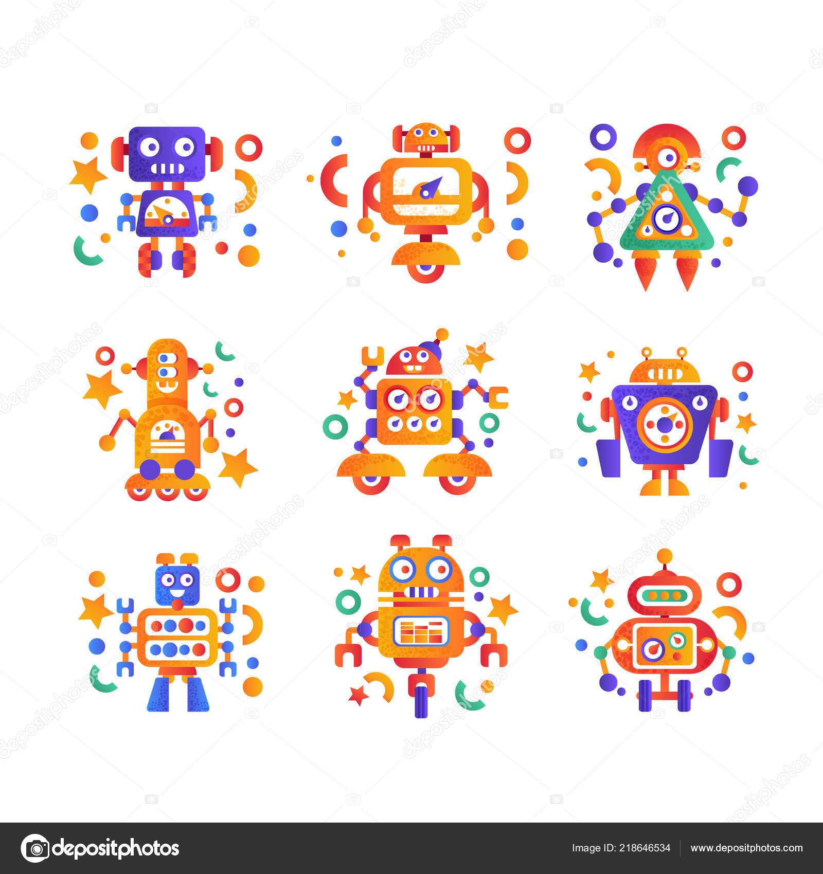 Cute Funny Robots Set Android Characters Artificial Robotics