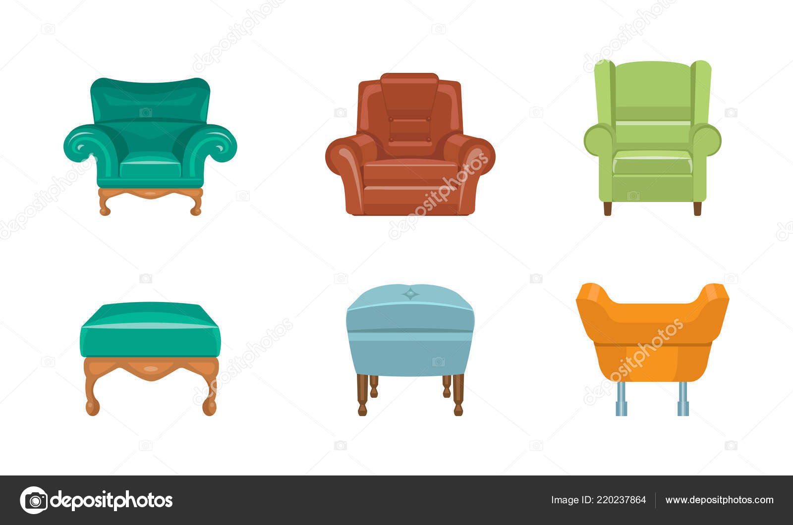 Chairs And Armchairs Set, Colorful Comfortable Furniture Vector  Illustration Isolated On A White Background. U2014 Vector By TopVectors