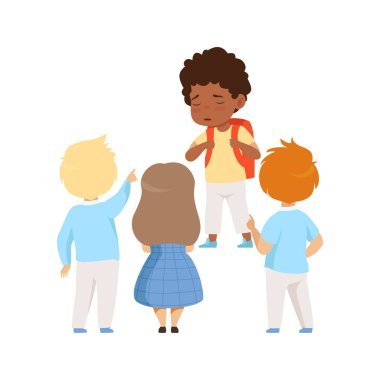 Kids mocking an african ameican boy, bad behavior, conflict between kids, mockery and bullying at school vector Illustration on a white background