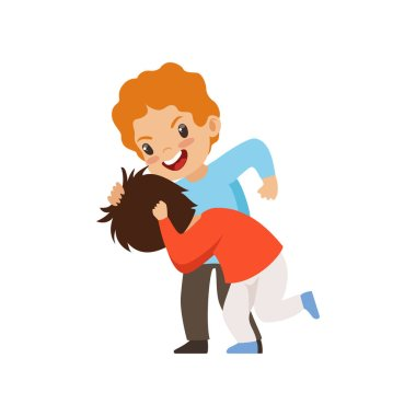Two boys fighting, bad behavior, conflict between kids, mockery and bullying at school vector Illustration on a white background