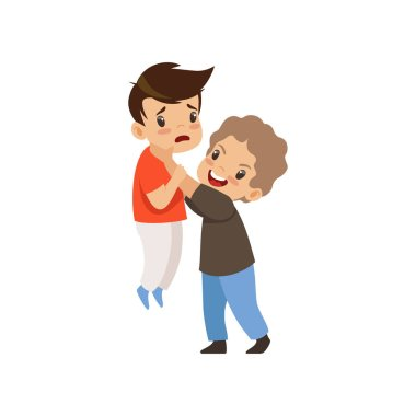 Angry boy beating another who is weaker, bad behavior, conflict between kids, mockery and bullying at school vector Illustration isolated on a white background.