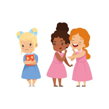 Naughty girls mocking another, bad behavior, conflict between kids, mockery and bullying at school vector Illustration on a white background