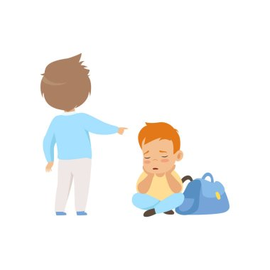 Sad boy sitting on the floor, classmate mocking and pointing him, bad behavior, conflict between kids, mockery and bullying at school vector Illustration