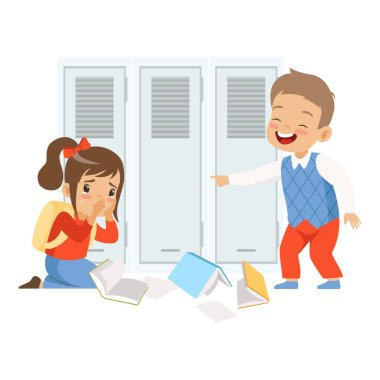 Sad girl sitting on the floor, classmate mocking and pointing her, bad behavior, conflict between kids, mockery and bullying at school vector Illustration