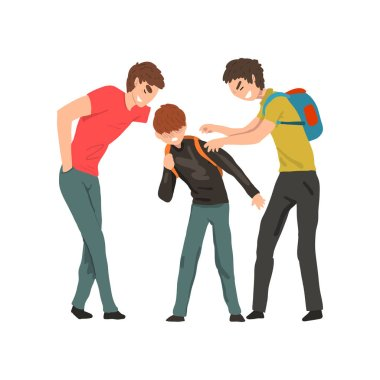 Two older boys mocking younger, conflict between children, mockery and bullying at school vector Illustration on a white background