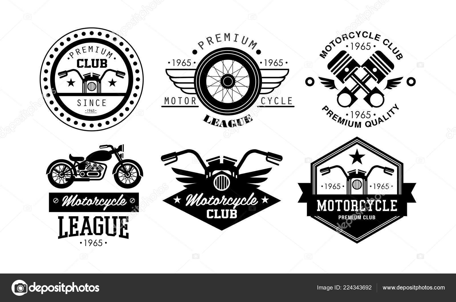Premium Motorcycle League Logo Set Retro Badges For Biker Club