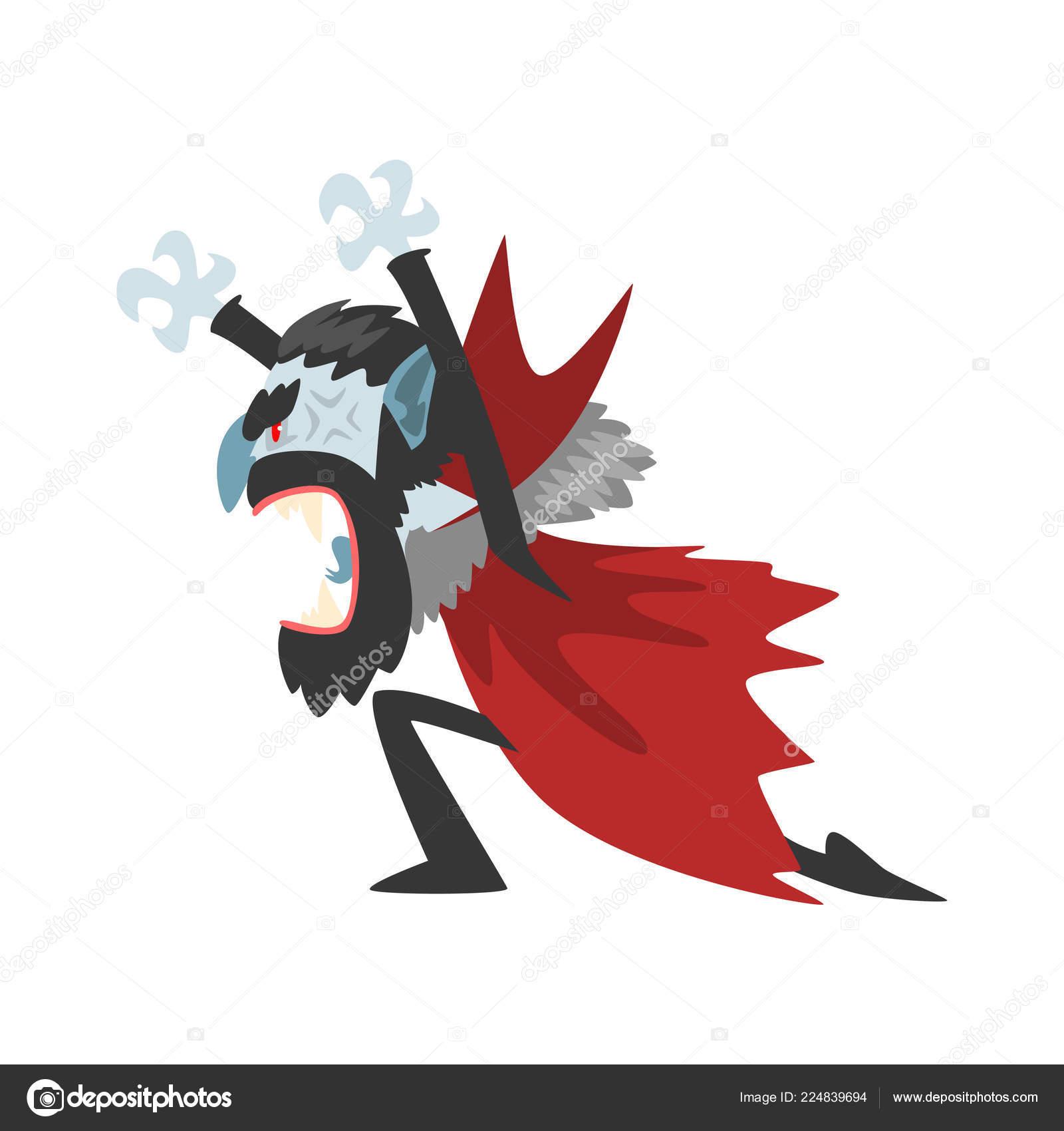 Furioso conte dracula urlando personaggio dei cartoni animati di