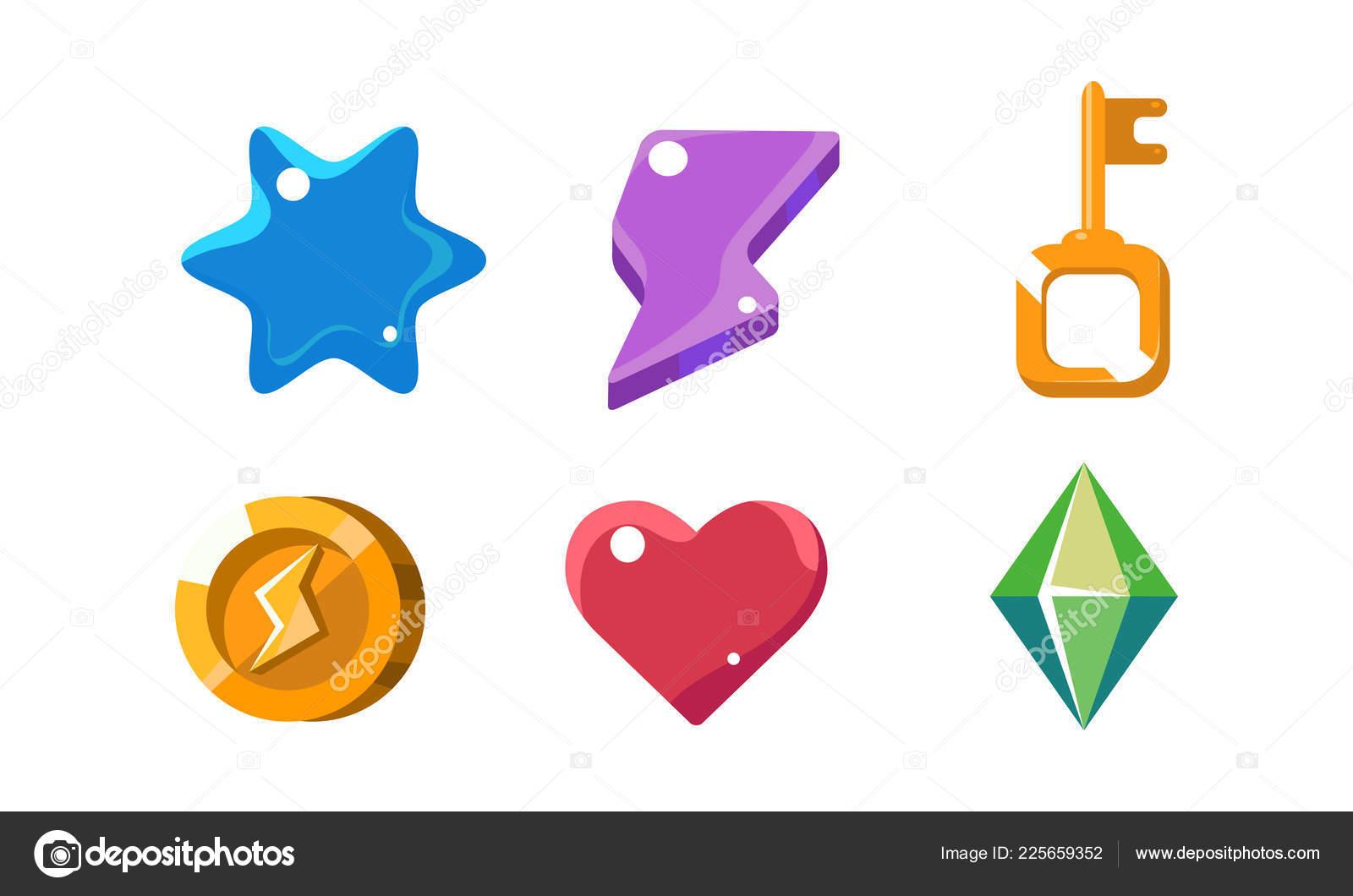 Colorful bright jelly shapes set, crystal, key, lightning