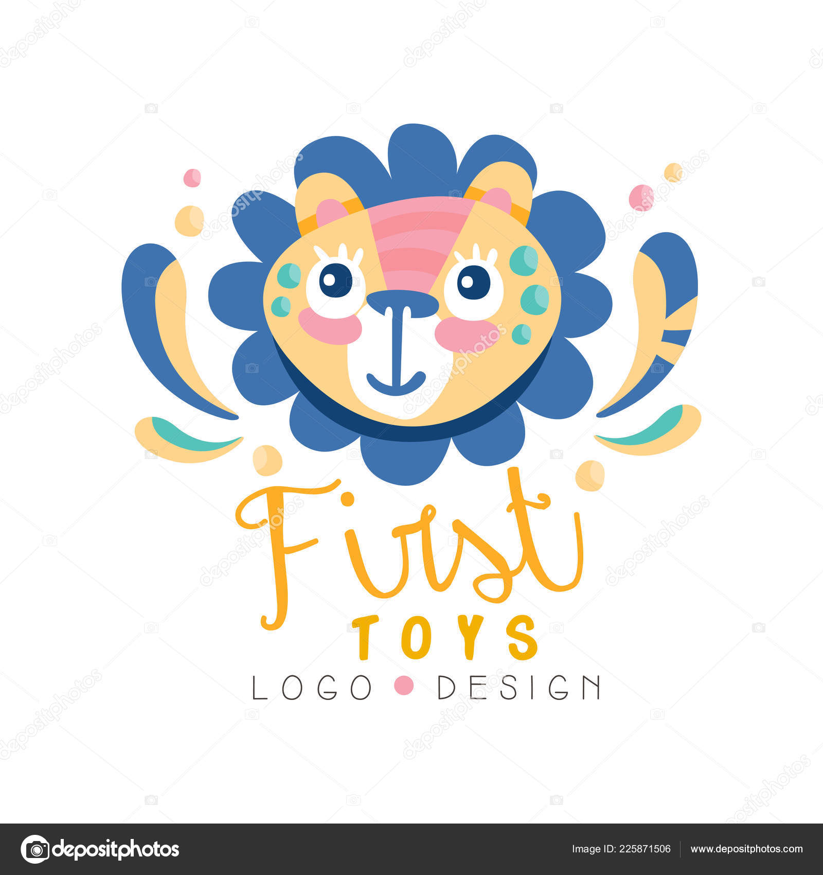 First Toys Logo Design Badge With Cute Lion Can Be Used For Baby