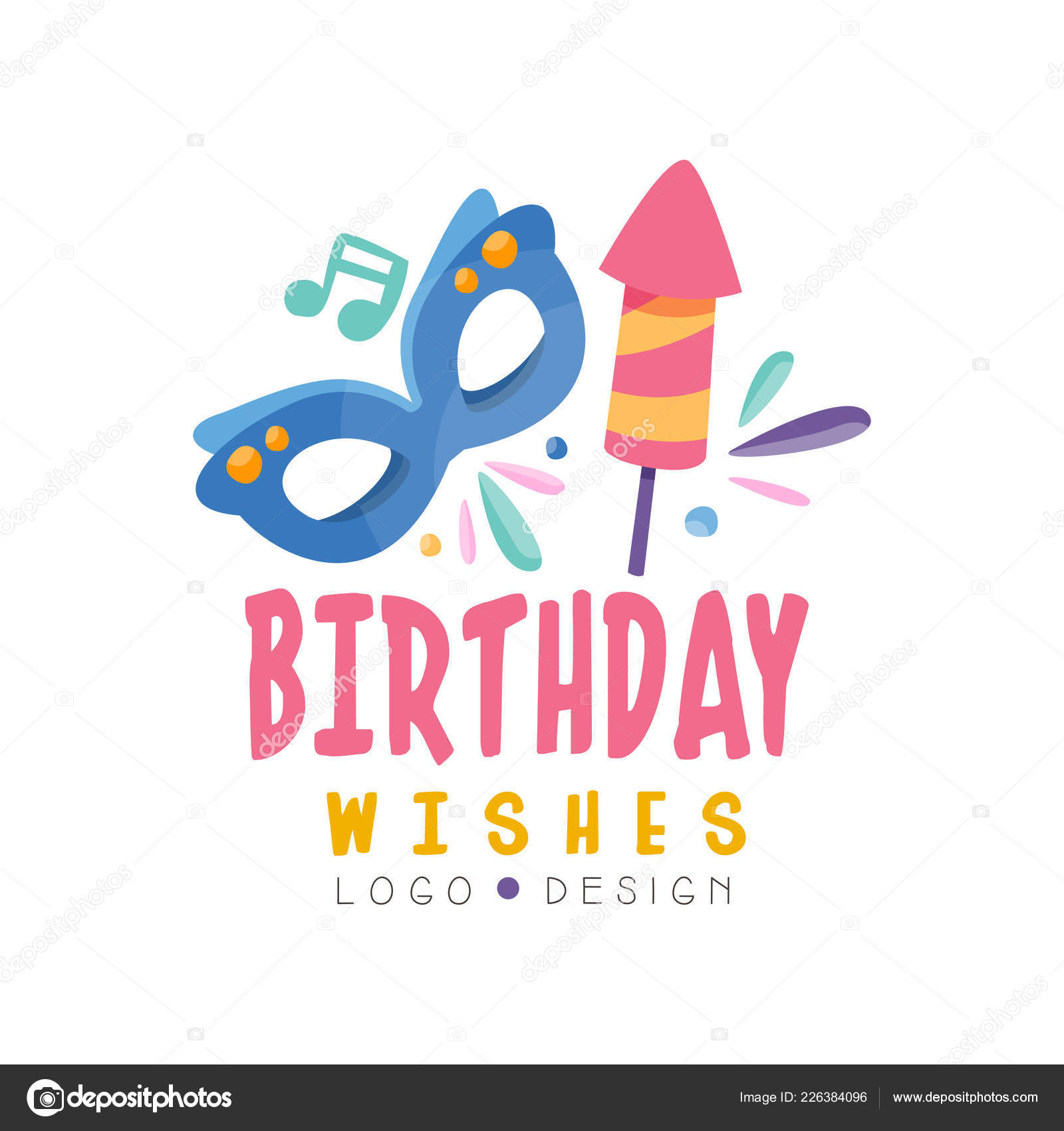 Birthday Wishes Logo Design Colorful Template For Banner Poster Greeting Card Vector Illustration Isolated On A White Background By