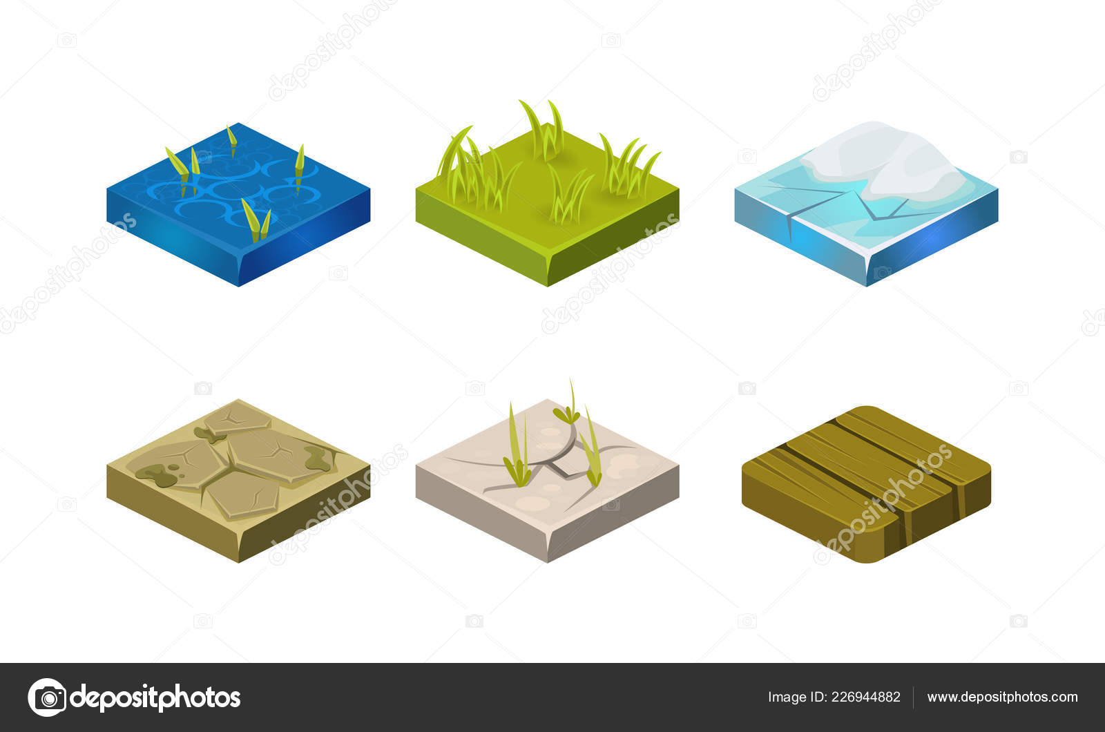 Platforms of different ground textures set, water, stone