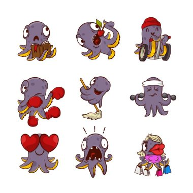 Set of funny purple octopuses in different actions Sea animals with tentacles. Humanized marine creatures. Cartoon characters. Stickers for messenger. Vector illustrations isolated on white background stock vector