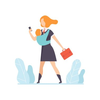 Young Mom in Business Clothes Going to Work with a Small Baby in Sling, Freelancer, Parent Working with Child, Mommy Businesswoman Vector Illustration