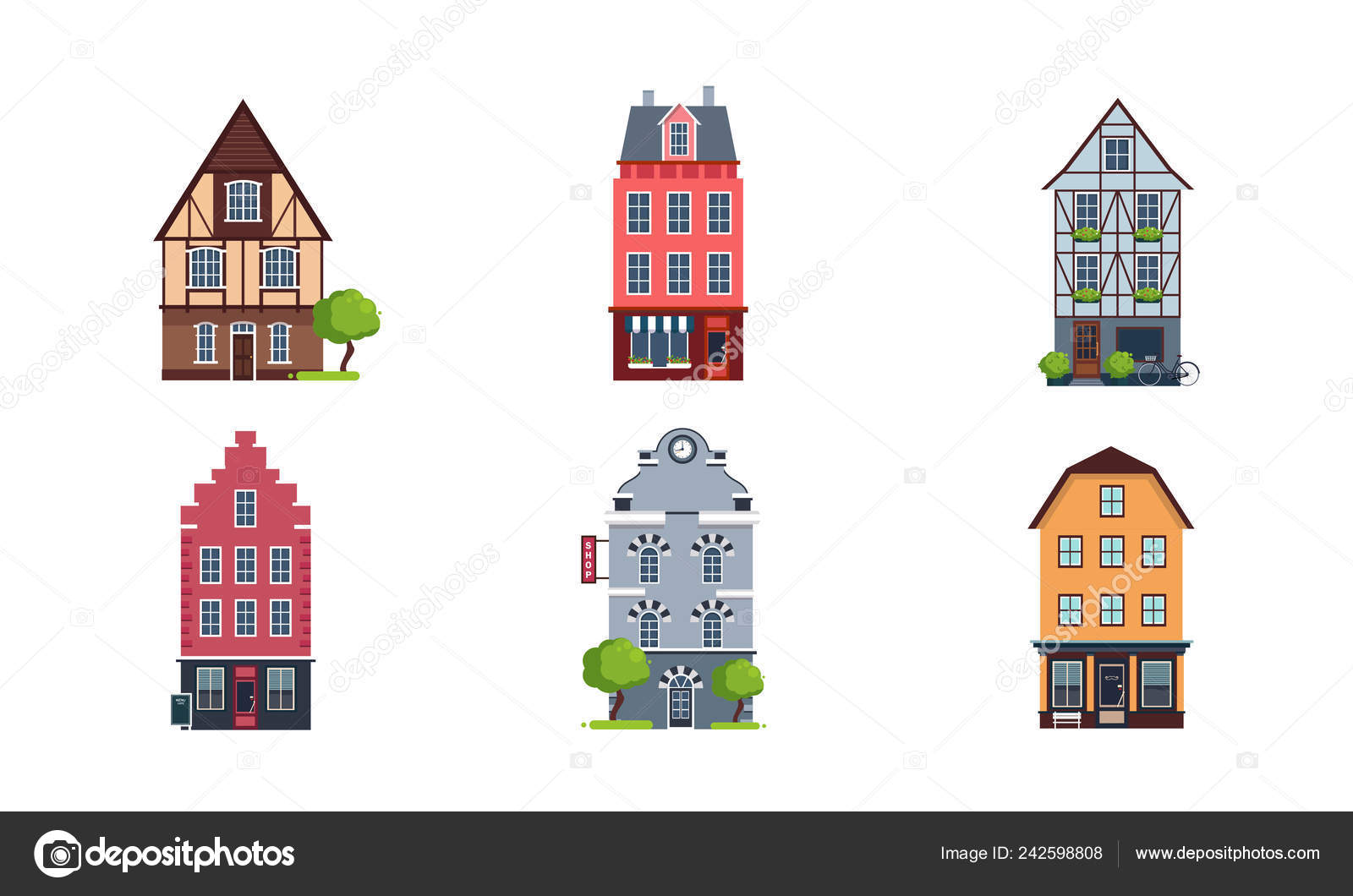 Colorful European Facades Of Houses Set Buildings Of Different